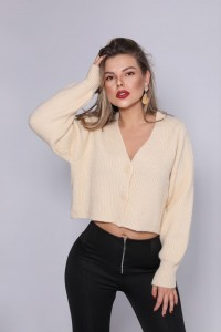 Ribbed Knit Cardigan Nude